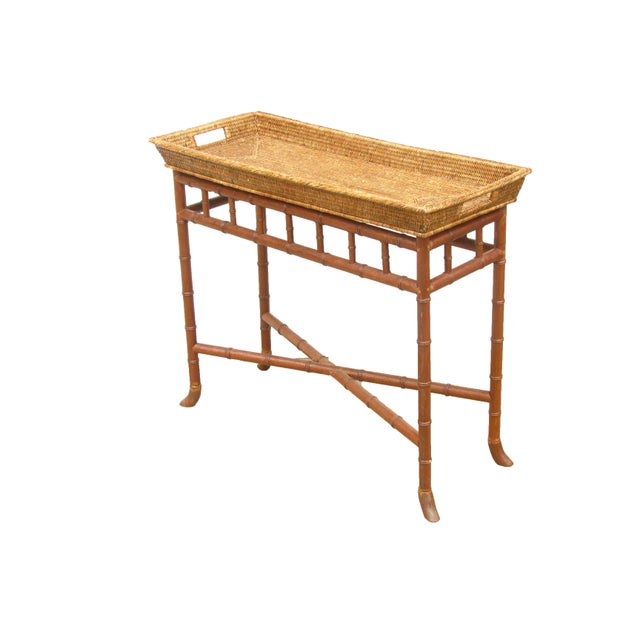 Wisteria Bamboo/Basket Console - Image 2 of 6