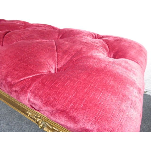 Vintage Hollywood Regency Red Velvet Tufted Bench - Image 5 of 8