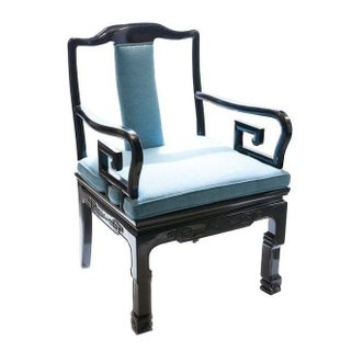 Asian-Style Black And Blue Armchair
