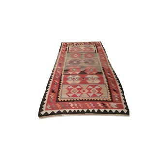 4′8″ × 10′5″ Vintage Turkish Kilim Hand Made Runner Rug - Size Cat. 10 Ft 11 Ft Wide Runner