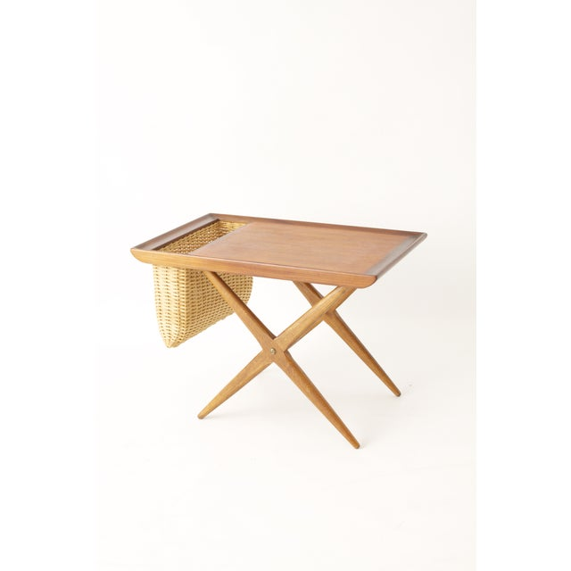 Teak Walnut MCM Side Table Woven Magazine Basket - Image 10 of 11