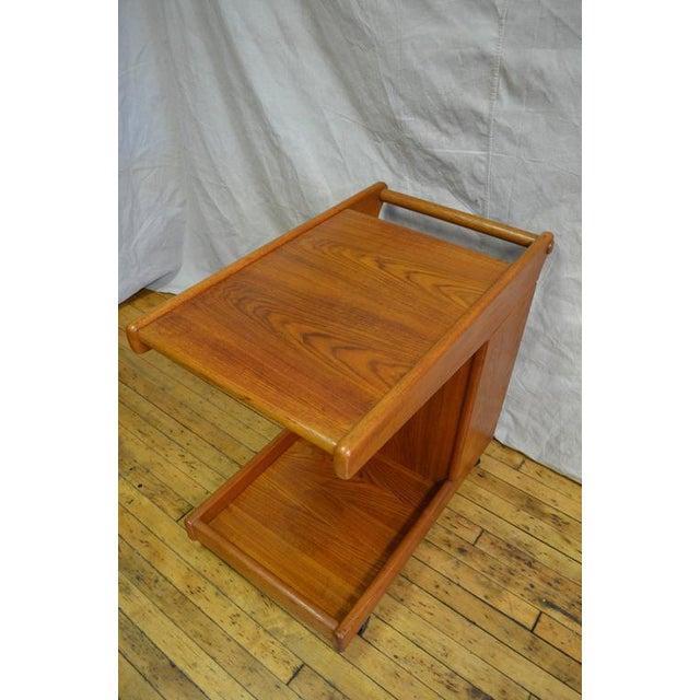 Mid-Century Teak Tea Bar Cart on Wheels - Image 4 of 10