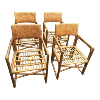 Vintage Bamboo & Rattan Armchairs - Set of 4