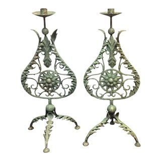 Patina Green Antique French Candle Sticks - a Pair
