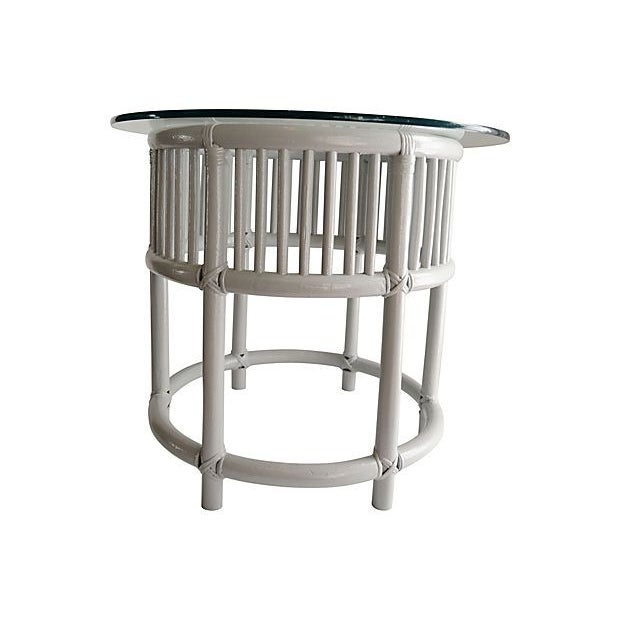 Gray Painted Rattan Side Tables - A Pair - Image 3 of 5