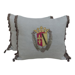 Pair of Family Crest Appliquéd Linen Pillows