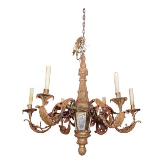 Early 20th Century Wood Tole and Iron Chandelier