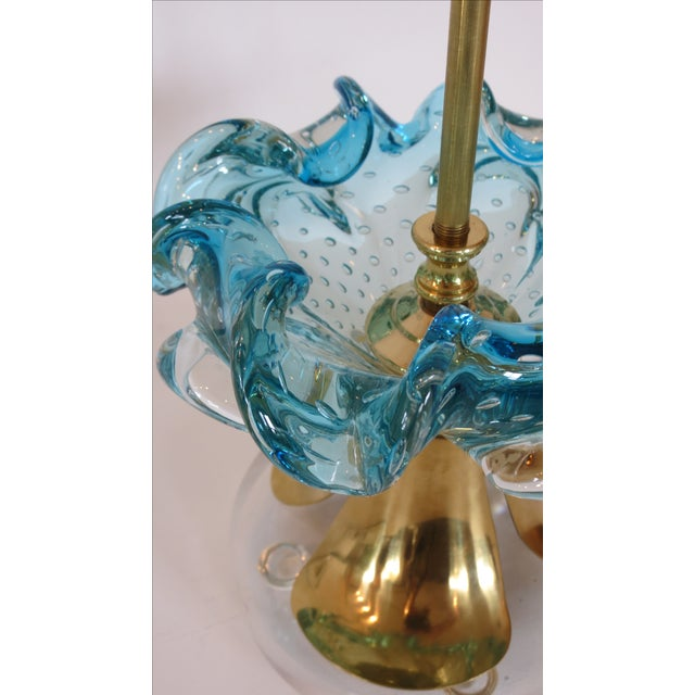 Image of Vintage Azure Blue Murano Glass and Brass Lamp