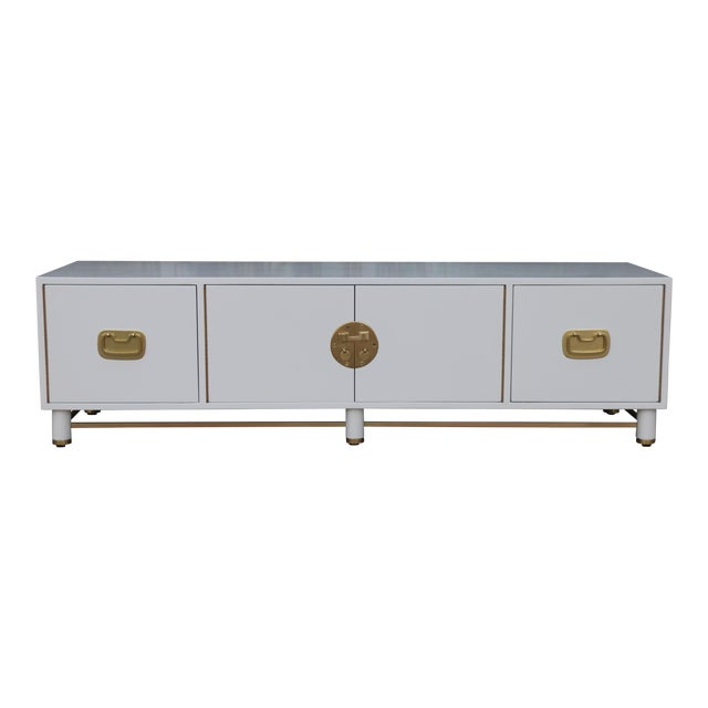 White Mid Century Oriental Low Credenza - Image 1 of 10