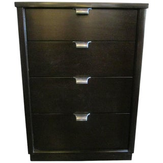 1960s Black Stained Walnut Four-Drawer Nighstand By Drexel