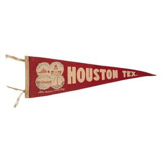 Vintage 1950s Houston TX Felt Flag
