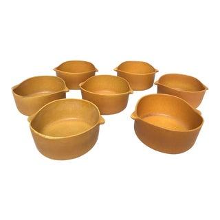 Bennington Potters Tawny Ceramic Pottery Lug Bowls - Set of 7