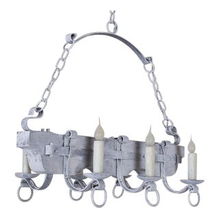 Vintage French Painted Wood and Iron Ox Yoke Chandelier circa 1940