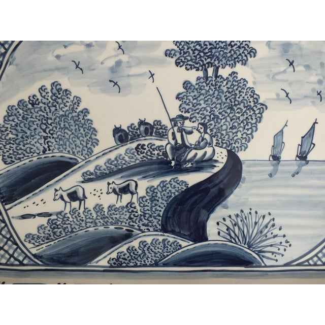 Nazari Blue & White Hand Painted Portuguese Platter - Image 3 of 9