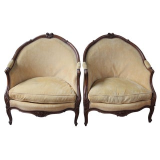 Antique Bergère en Gondole Chairs - A Pair
