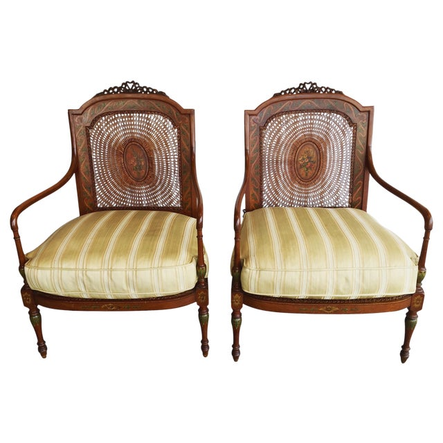 Hand Painted Satinwood Cane Back Chairs - Pair - Image 1 of 7
