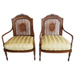 Image of Hand Painted Satinwood Cane Back Chairs - Pair