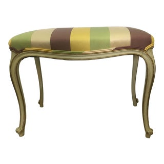 French Striped Vanity Bench