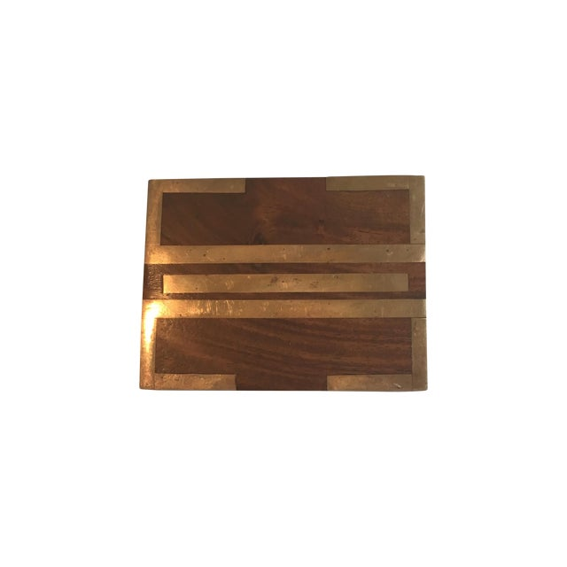 Wood Box With Brass Inlay - Image 1 of 8