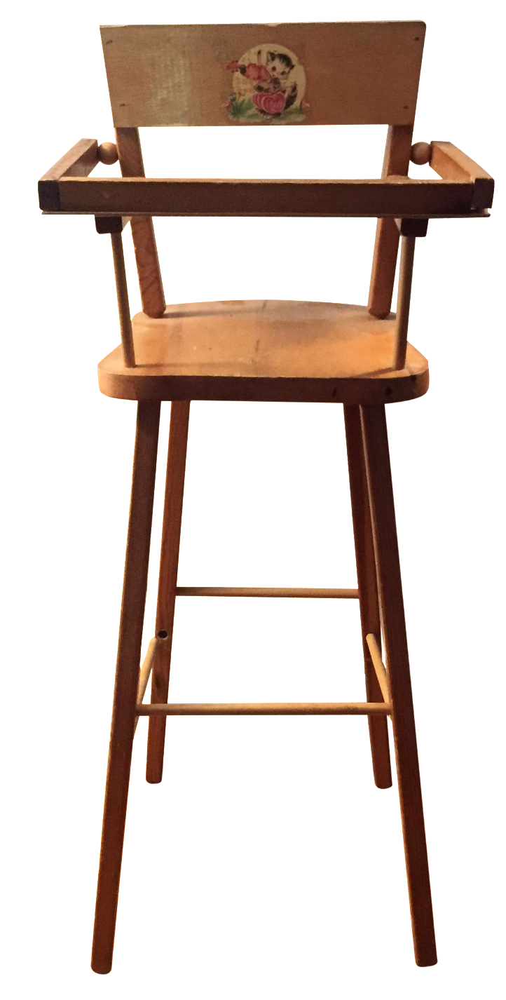 Wood Doll High Chair With Cat Motif   Image 1 Of 11