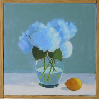 """""""Hydrangea Flowers with Lemon"""" Painting by Anne Carrozza Remick"""