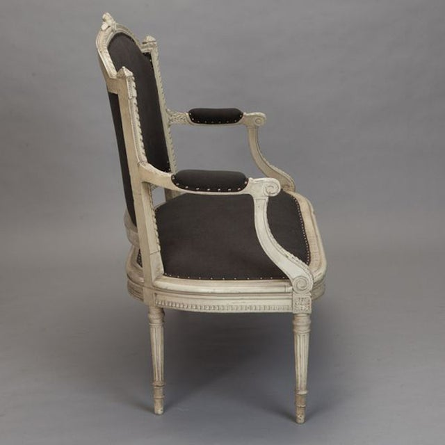 Image of French Cream Painted Settee, Dark Gray Upholstery