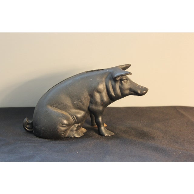 Vintage Cast Iron Pig Piggy Bank - Image 3 of 4