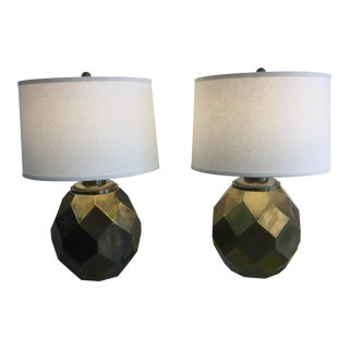 1977 Faceted Chapman Brass Lamps - a Pair