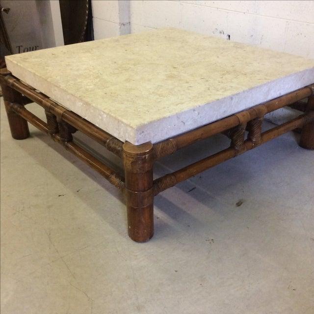 Henredon Oriental Style Coffee Table: Henredon Mactan Stone Top & Bamboo Coffee Table