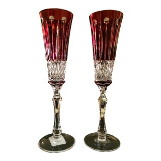 Faberge Xenia Ruby Red Champagne Flutes - a Pair