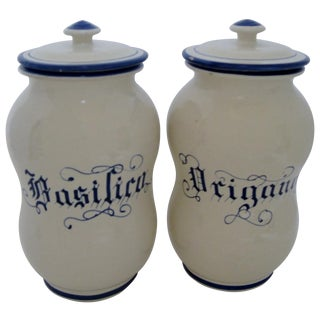Ceramic Kitchen Canisters - A Pair