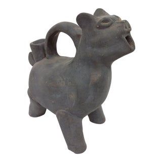 Antique Asian Gray Earthenware Animal Vessel