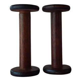 Vintage Wooden Spools - A Pair