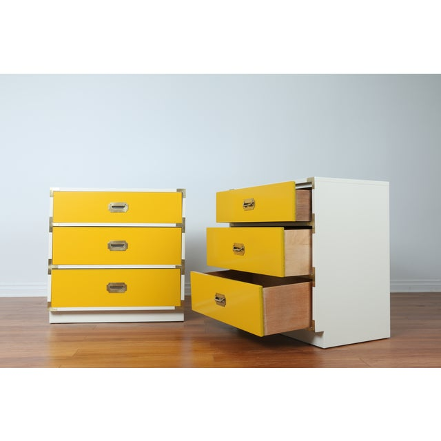 Image of Dixie Yellow & White Campaign Nightstands - A Pair