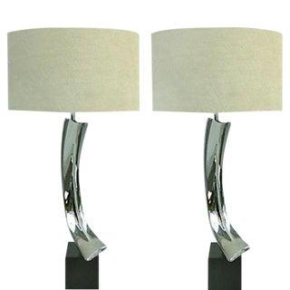 Laurel Sculptural Nickel Laurel Lamps - a Pair