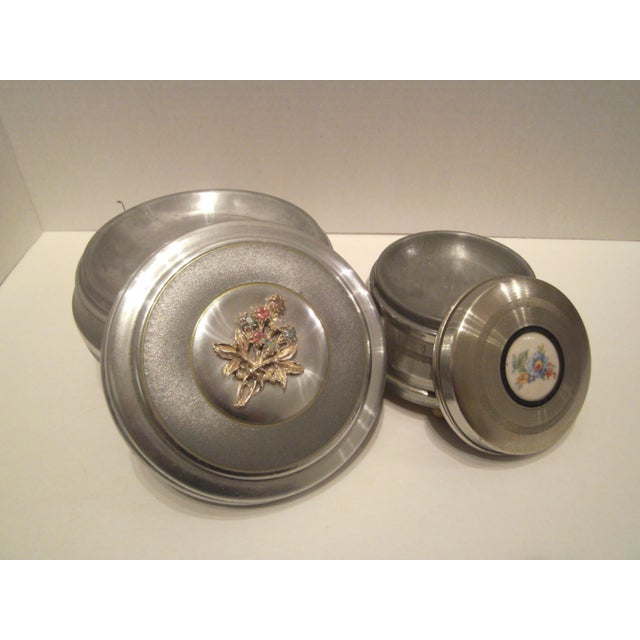 1940's Aluminum Musical Powder Boxes - Image 6 of 8