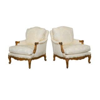 Louis XV Style Walnut Bergeres - Pair