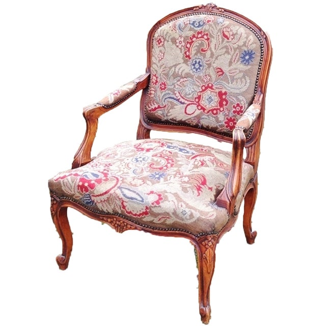 Petit Point Needlepoint Tapestry Chair - Image 2 of 2