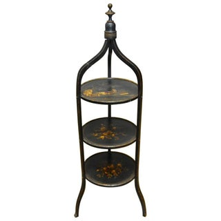 19th Century Chinoiserie Lacquered Three-Tier Dessert Stand