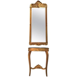 Louis XVI French Giltwood Hall Table & Matching Mirror