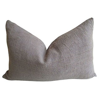 Vintage French Grey Linen Pillow