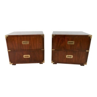 Henredon Walnut Campaign Side Tables - A Pair