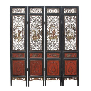 Chinese People Carving Red Black Golden Wood Panel Floor Screen