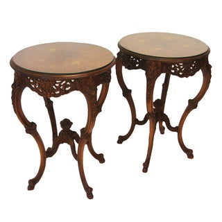 Pair Rosewood Marquetry Round Occasional Tables