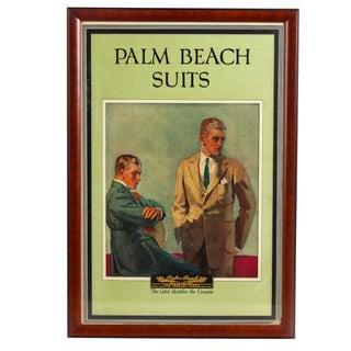 Antique 1920s Framed Palm Beach Suits Lithograph