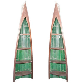 Decorative Canoes Shelving Unit - A Pair