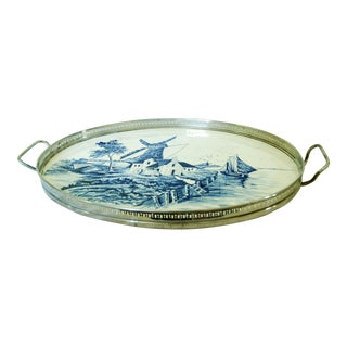 Vintage Blue Delft Holland Serving Tray