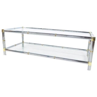 Chrome Brass and Glass Coffee Table by Jansen