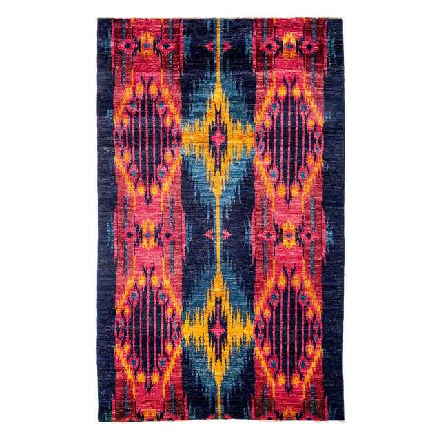 "Ikat Hand Knotted Area Rug - 5'9"" X 9'6"" - Image 1 of 3"