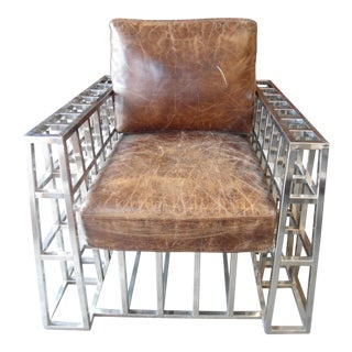 Hd Buttercup Distressed Leather and Chrome Arm Chair